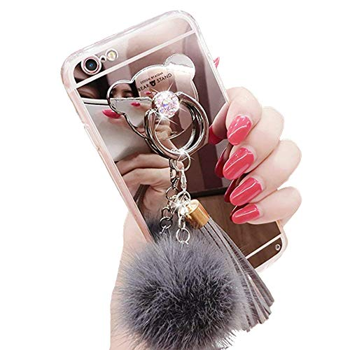 iPhone 7/8 Case, Luxury Fur Ball Soft Rubber Bumper Bling Diamond Glitter Mirror Makeup Case with Bear Ring Stand Holder for Girls (Gray, iPhone 7/8)