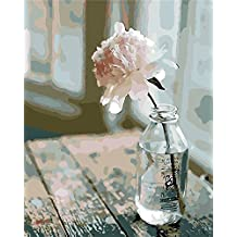 YEESAM ART New Paint by Numbers for Adults Children - Flower in Bottle 16*20 inches Linen Canvas - DIY Digital Painting by Numbers Kits on Canvas Junior Kids - Wall Art Artwork Landscape Paintings for Home Living Room Office Pictures Decor Decorations Gifts Diy Paint by Numbers Diy Canvas Kit for Advanced Seniors (Without Frame)