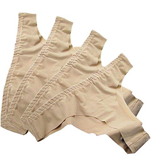 Thy cotton Women's Invisible Seamless Bikini Underwear Cotton Thongs G-String Briefs 4 Pack (Skin,X-Small)