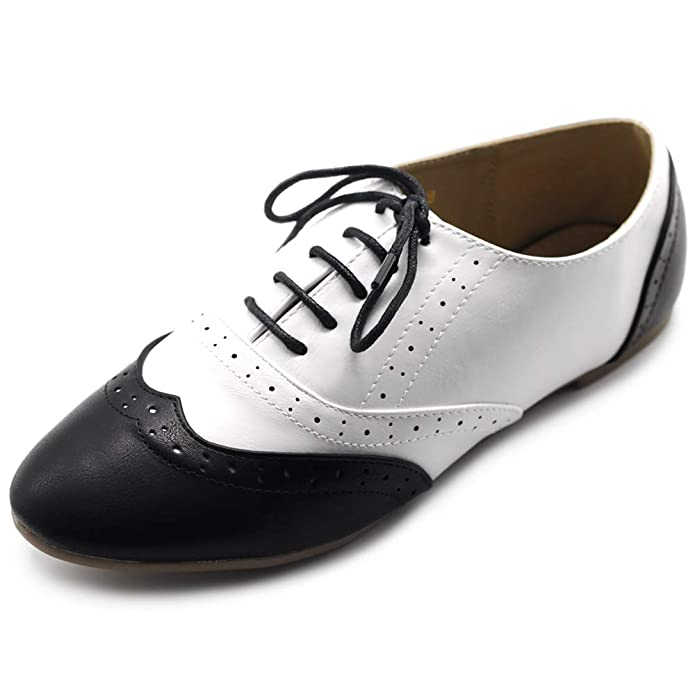 Ollio Women's Shoe Classic Lace Up Dress Low Flat Heel Oxford M1914(7 B(M) US, Black-White)