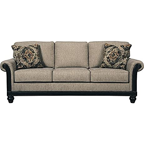 Ashley Blackwood Stationary Fabric Sofa With Rolled Arms Loose Seat Cushions And Pillows Taupe