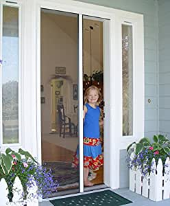 Casper retractable single door screen white for Single sliding screen door