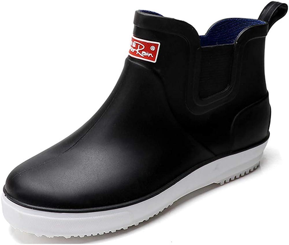 fereshte Men's Outdoor Waterproof Shoes Short Ankle Rain Boots