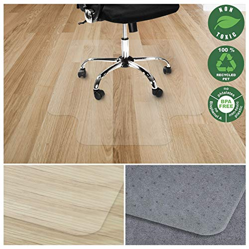 Office Marshal Chair Mat with Lip for Hard Floors | Eco-Friendly Series Chair Floor Protector | 100% Recycled (PET) Floor Mat for Office or Home Use | Multiple Sizes | Translucent - 48'' x 53''