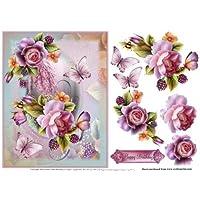 Flores de cerezo y rosas inglesas por Julie