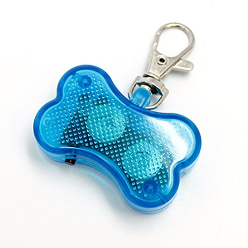 ZX101 Creative Dog Bling Rhinestone Tags LED Light Up Dog Bone Shape ID Tag Pet Safety Collar Pendant for Outdoor Walking (Blue) Tag Bone Shape Led