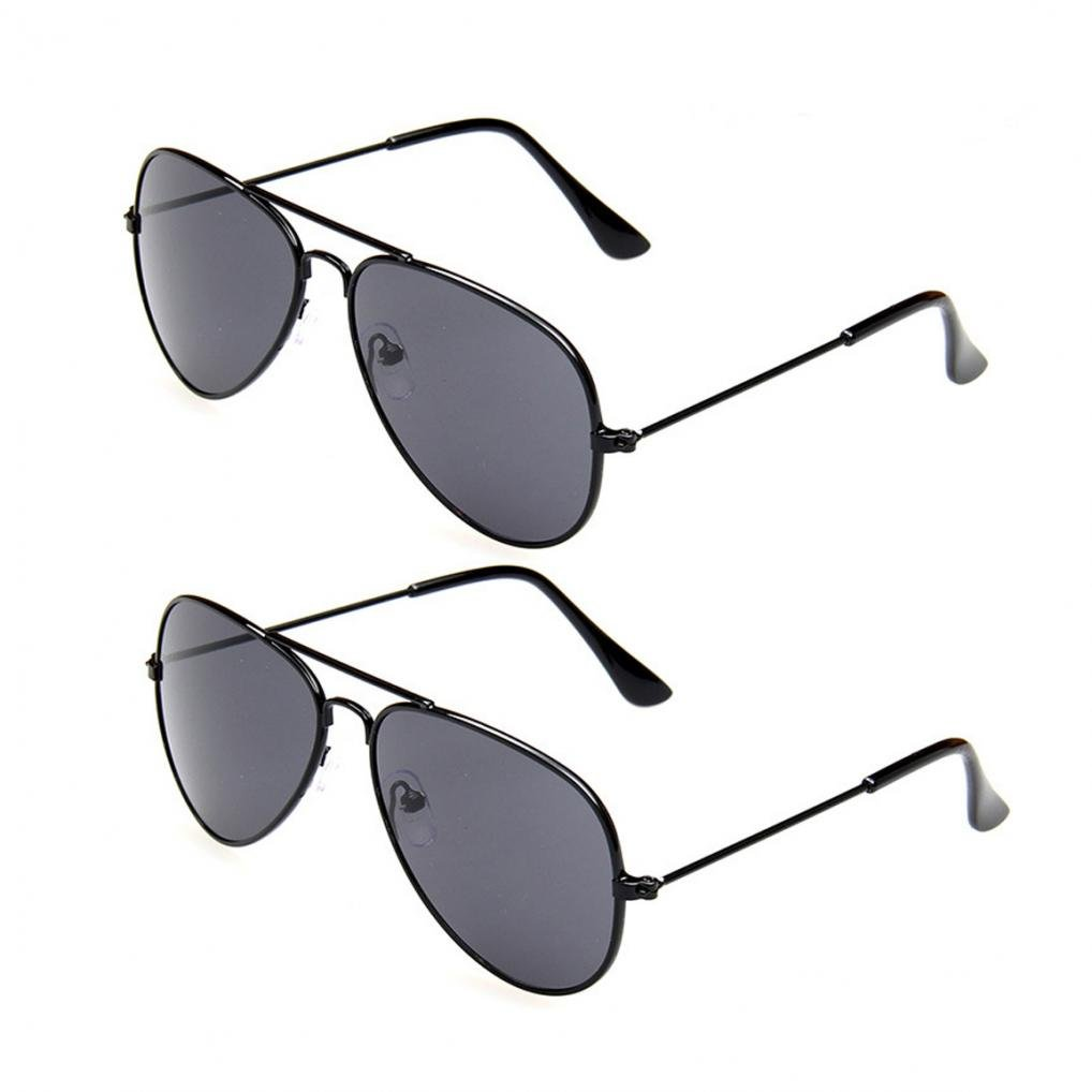 WODISON Classic Kids Aviator Sunglasses Bulk Reflective Metal Frame Children Eyeglass 2 Pack