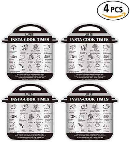 4 Pack Instant Pot Cheat Cooking Time Magnet Sheets, Textual Description and Food Images Cooking Times for 14 Common Prep Functions