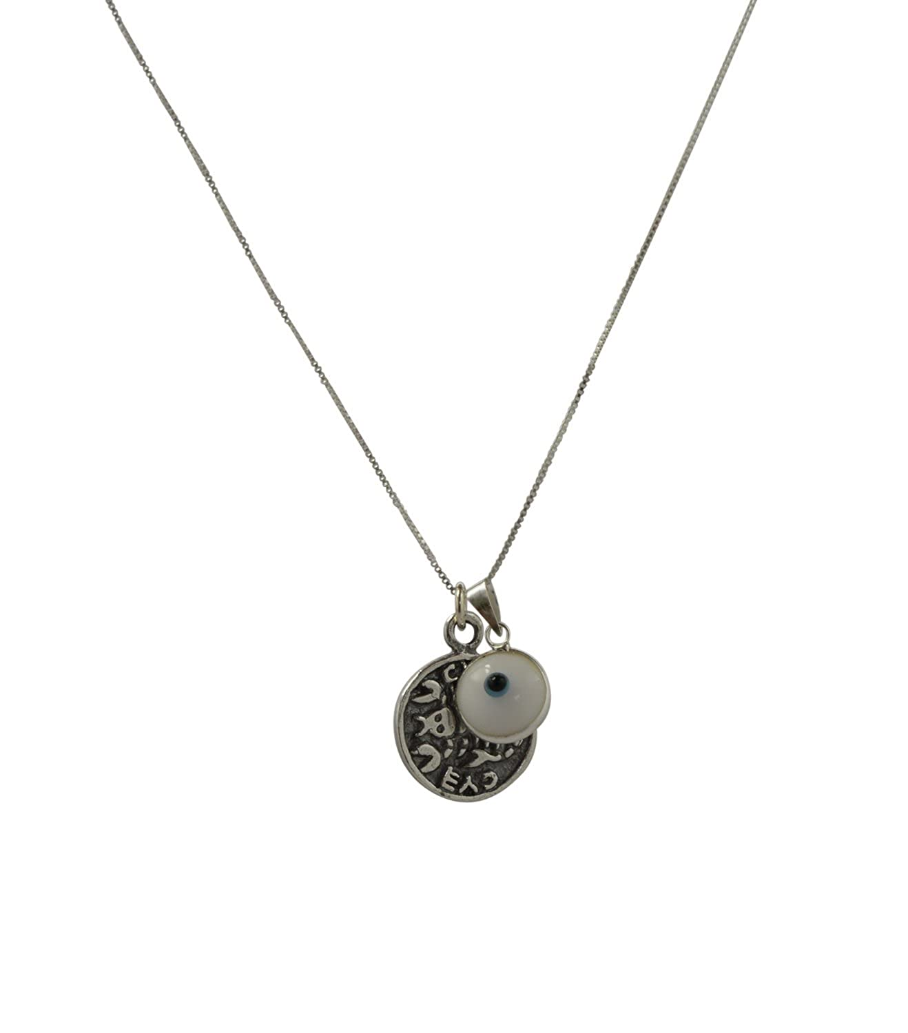 White Evil Eye Charm /& Recovery Solomon Seal Amulet Sterling Silver Necklace for Men and Women