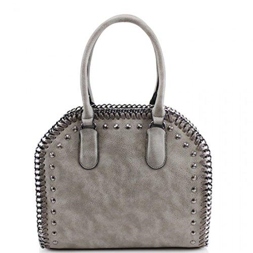 Ladies Frame Womens Style Bag Designer Tote Stud Shoulder Handbag Grey Celebrity xqqZIw0B