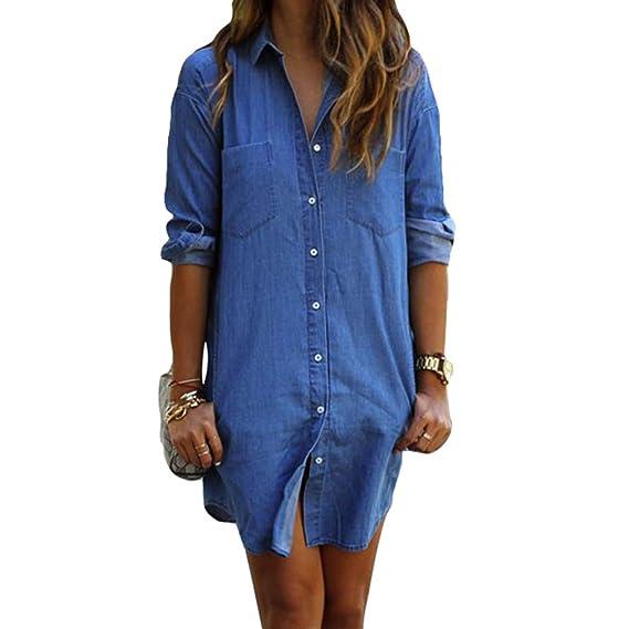juqilu Vestido Casual de Mujer Blusa Jean Blusa de Mezclilla de Manga Larga Blusa de túnica Camisa Tops S-2XL: Amazon.es: Ropa y accesorios