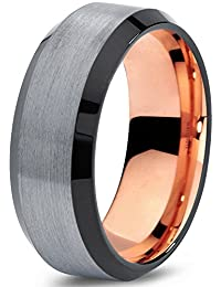 Tungsten Wedding Band Ring 8mm for Men Women Black Grey Rose Yellow Gold Plated Beveled Edge Brushed Polished