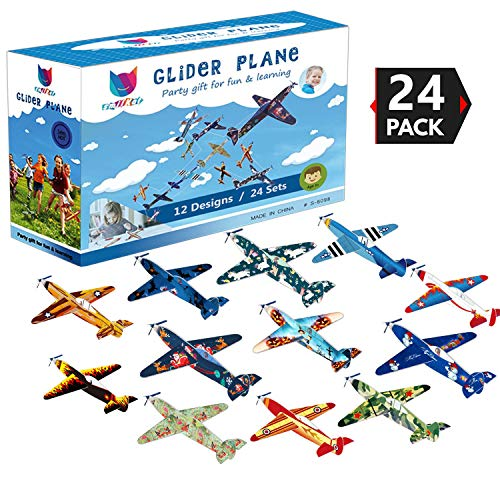 Smilkat Glider Plane Party Favors - 12 New Models 24 Pack 8 inch Flying Styrofoam Airplanes, Easy Assembly, Kids Toy for Birthday Party, School Classroom Rewards Carnival Prizes ()