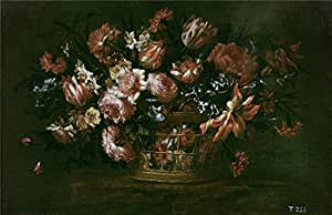 'Perez Bartolome Canasto de flores Second half of 17 Century ' oil painting, 18 x 28 inch / 46 x 71 cm ,printed on Perfect effect canvas ,this Replica Art DecorativePrints on Canvas is perfectly suitalbe for dining Room artwork and Home decor and Gifts