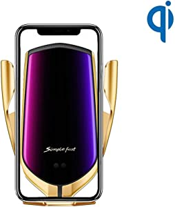 Solomo Wireless Car Charger Mount, Luxury Auto-Clamping 7.5W /10W Qi Fast Charging Car Cell Phone Charger Holder Compatible with iPhone Xs Max/Xr/Xs/ 8 Plus, Samsung Galaxy S10+ /S10/S9 (Rose Gold)
