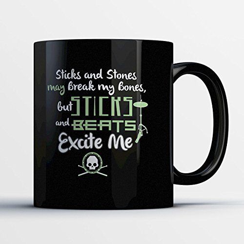 Drummers Drumming Costume (Drummer Coffee Mug - Sticks And Beats - Adorable 11 oz Black Ceramic Tea Cup - Cute Drummer Gifts with Drummer Sayings)