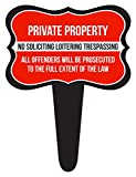 iCandy Combat Private Property No Soliciting Loitering Trespassing Home Yard Lawn Sign, Red, 12x16
