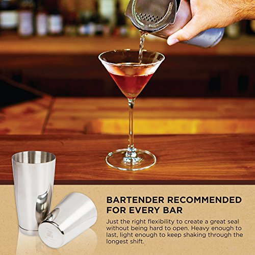 Stainless Steel Boston Shaker: 2-piece Set: 18oz Unweighted & 28oz Weighted Professional Bartender Cocktail Shaker by Top Shelf Bar Supply (Image #6)