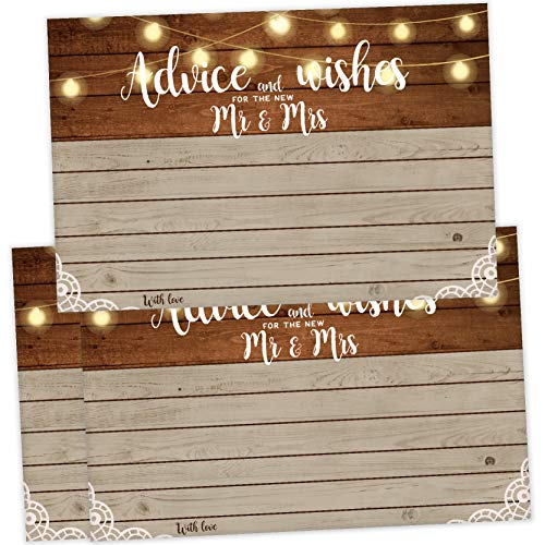 Cards Well Get Wishes (25 Rustic Wedding Advice Cards and Well Wishes for the Bride and Groom, Reception Wishing Guest Book Alternative, Bridal Shower Games Note Card Marriage Best Advice Bride To Be or For Mr & Mrs)