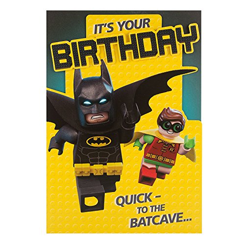 Hallmark Lego Batman Die Cut Humour Birthday Card 'To The Batcave' - Medium
