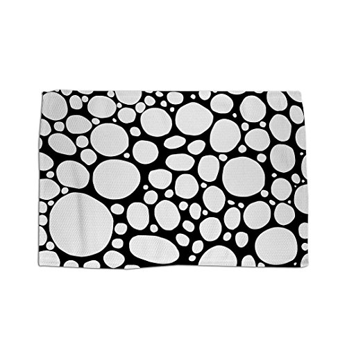 Funky Mod Black White Bubble Design Area Rug. Original one of a kind modern art throw rug by C.Cambrea. Funky unique artist rug. Original, unusual, eccentric, contemporary home decor.