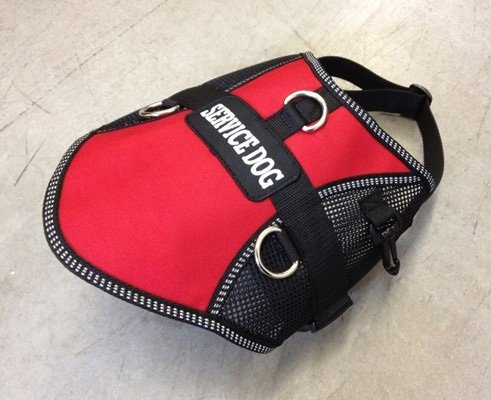 Service Dog Vest Mesh Air-Tec Harness in Red Or bluee with Free Sewn On Service Dog Patch 30 -34  Girth