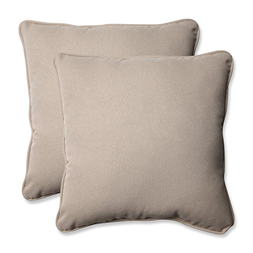 Pillow Perfect Decorative Beige Solid Toss Pillows, Square, 2-Pack by Pillow Perfect
