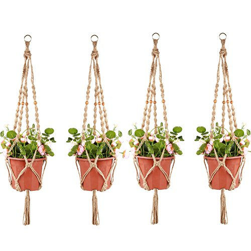 Accmor 4 Pack Plant Hanger 4 Legs 3.3 ft with Beads and Ring, Strong Handmade Jute Indoor Outdoor Patio Deck Ceiling Plant Holder for Round Square Pot…