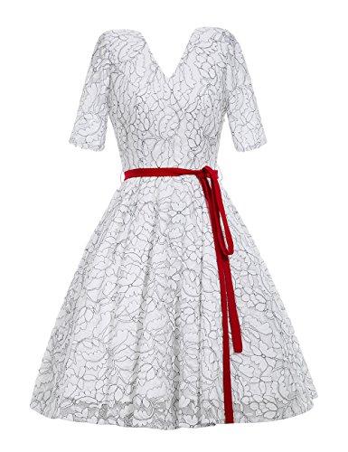 VKStar - Vestido - Noche - para mujer blanco