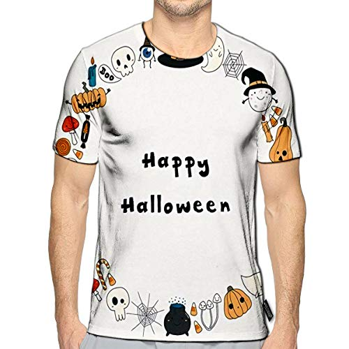T-Shirt 3D Printed Kawaii Funny Halloween Wreath with Pumpkins Ghosts Candy Witch Casual Teesd]()