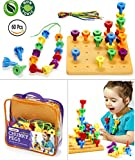 Twinkle me Peg Board Game Set - 60 Chunky Pegs W/ Board & Storage Bag W/ Handle easy to Carry. For Motor Skills Sorting Counting Color Recognition Occupational Therapy Toddler And Preschool, By