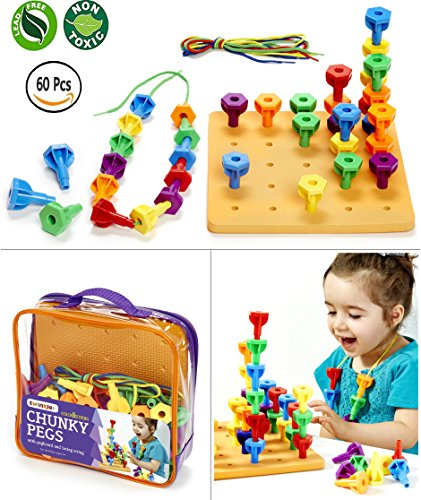 Peg Board Game Set - 60 Chunky Pegs W/ Board & Storage Bag W/ Handle easy to Carry. For Motor Skills Sorting Counting Color Recognition Occupational Therapy Toddler And Preschool, By Twinkle Me Peg Handle