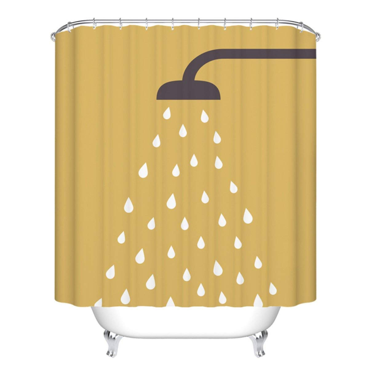 Der Thickening Opaque Polyester Baths Free Punched Shower Curtains Waterproof Non-Toxic Antibacterial Heavy-Duty Metal Buttons Bathroom Accessories (Color : B, Size : 150cm180cm)