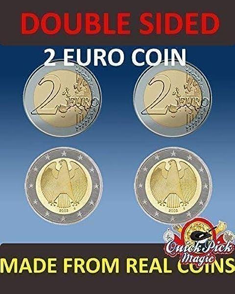 QUICK PICK MAGIC PAR DE Real Doble Cara Dos Euro Moneda [1 Dos Caras y 1 Dos Cruz Dos Euro Moneda]: Amazon.es: Juguetes y juegos