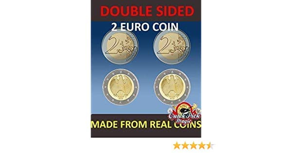 QUICK PICK MAGIC PAR DE Real Doble Cara Dos Euro Moneda [1 Dos Caras y 1 Dos Cruz Dos Euro Moneda]: Amazon.es: Juguetes y juegos