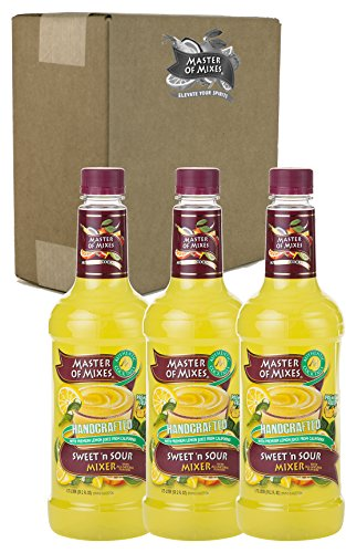 Master of Mixes Sweet & Sour Drink Mix, Ready To Use, 1 Liter Bottle (33.8 Fl Oz), Pack of 3
