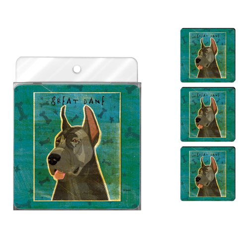 - Tree-Free Greetings NC38030 John W. Golden 4-Pack Artful Coaster Set, Blue Great Dane