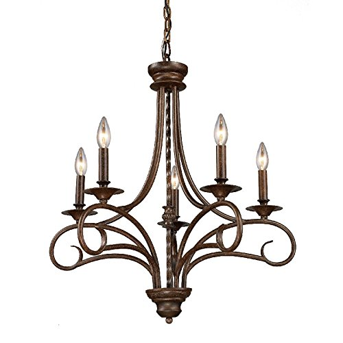 Elk Lighting 15042-5 Gloucester 5 Light Colonial Chandelier Lighting Fixture, Antique Bronze, , B12311