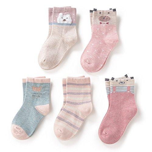 SUNBVE Toddler Little Girls Bears Fun Cotton Ankle Socks 5 Pack by SUNBVE (Image #1)