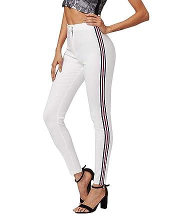Tomwell Mujeres Casual Rayas Skinny Jeans Mezclilla Slim ...