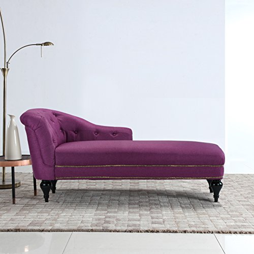 DIVANO ROMA FURNITURE Large Classic Tufted Button Linen Fabric Living Room Chaise Lounge with Nailhead Trim (Rose Red)