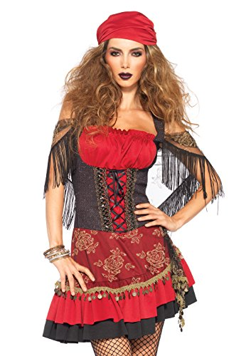 Gypsy Costume For Women (Leg Avenue Women's Mystic Vixen Costume, Burgundy/Black, Small/Medium)