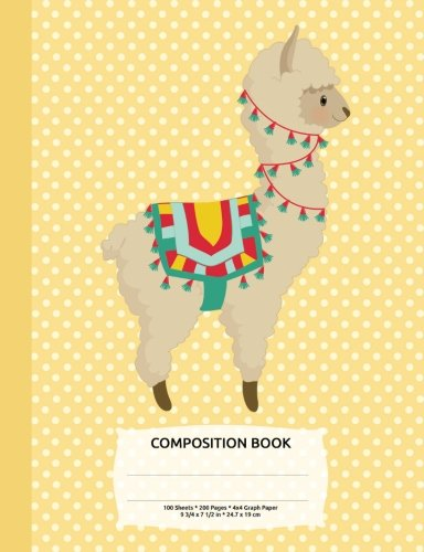 Alpaca Llama Yellow Polka Dot Composition Notebook, Graph Paper: 4x4 Quad Rule, Student Exercise Book Math Science Grid 200 pages (Cute Animals (Yellow Quad)