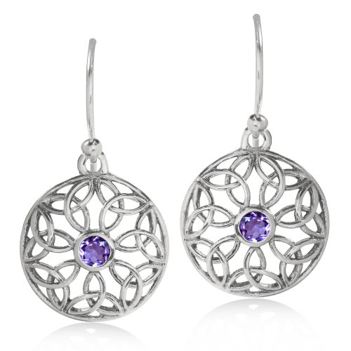 Natural Amethyst 925 Sterling Silver Triquetra Celtic Knot Circle Earrings - Celtic Circle Earrings