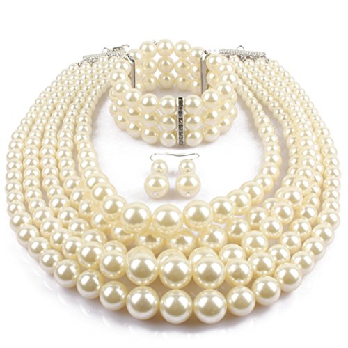 Lanue Women's Simulated Faux Pearl Multi-Strand Statement Necklace Bracelet and Earrings Set (Faux Pearl Multi Strand Necklace)