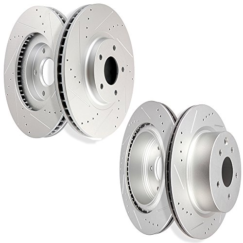 Brake Kit,SCITOO 4pcs Drilled Slotted Discs Brake Rotors for Infiniti EX35 EX37 G25 G25X G35 G35X G37 G37X M35 M45 Q40 QX50,Nissan 350Z 370Z Maxima,Front and Rear (Infiniti G35 Rotors)