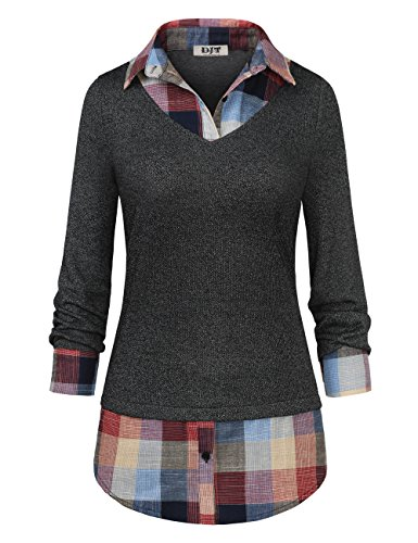Women's 2-in-1 Style Shirt, DJT Plaid Lapel Collar Curved Hem Checker Pullover Sweatshirt T-Shirt Tops XXL Dark Grey