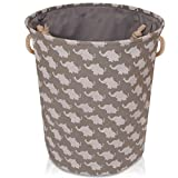 Grey Canvas Storage Basket with Elephants – Large High Quality Fabric Basket with White Elephants – Perfect for Household Storage, Toys or Laundry. 40cms Diameter x 45cm Height