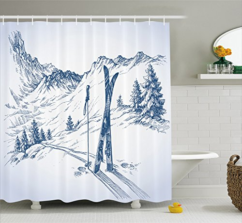 Ambesonne Winter Decorations Shower Curtain, Sketchy Graphic of a Downhill with Ski Elements in Snow Relax Calm View, Fabric Bathroom Decor Set with Hooks, 70 Inches, Blue (Ski Home Decor)
