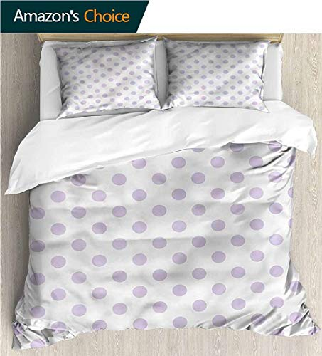 Home 3 Piece Print Quilt Set,Box Stitched,Soft,Breathable,Hypoallergenic,Fade Resistant with 2 Pillowcase for Kids Bedding-Lavender Polka Dots Classical Tile (87